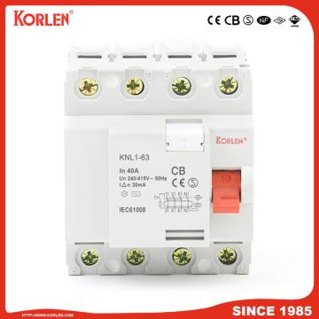 Residual Current Circuit Breaker KNL1-63 3KA CB 2P