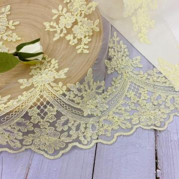 Pale Yellow Cord Embroidery On Poly Mesh Fabrics