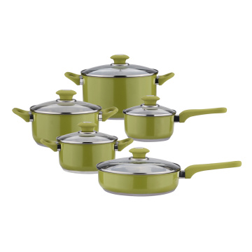 10pcs green color cookware set soup pot