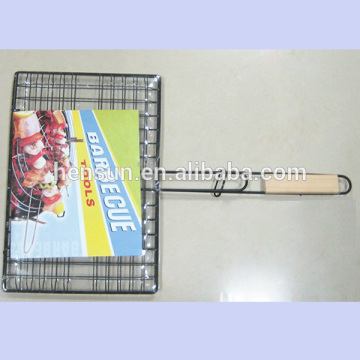 Wood Handle Long Outdoor BBQ Wire Burger Basket