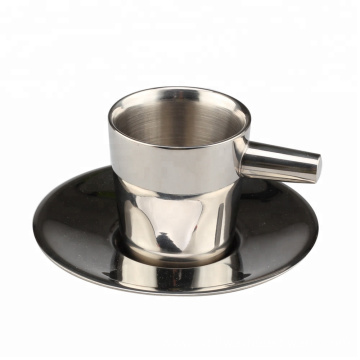 Double Wall Stainless Steel Espresso/Tea Cup with Saucer