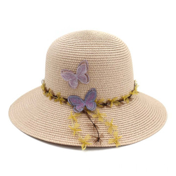 Butterfly decoration suitable size bucket straw hat