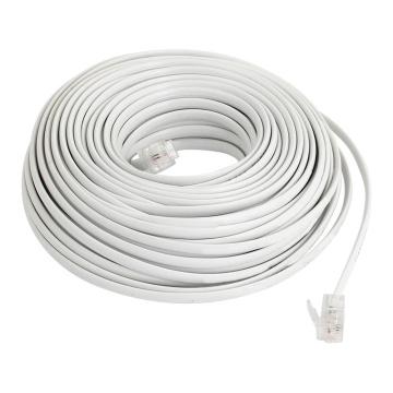 Flexible RJ11 6P2C Telephone Extension Cable 19M White