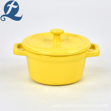 High Quality Home Decoration Cute Colorful Double Ear Ceramic Soup Pot with Lid