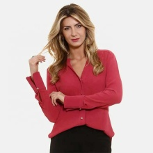 Crepe Chiffon Long Sleeve V-Neck Red Causal shirts