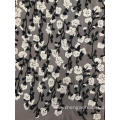 White Flowers And Black Branches Mesh Embroider Fabric