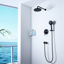 HIDEEP Bathroom Hot Cold Black Shower Faucet Set