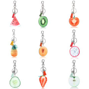 Summer Fruit Key Chain Creative Apple Watermelon Pitaya Pineapple Kiwifruit Key rings Key Holder Fresh Fruit Keychain Jewelry