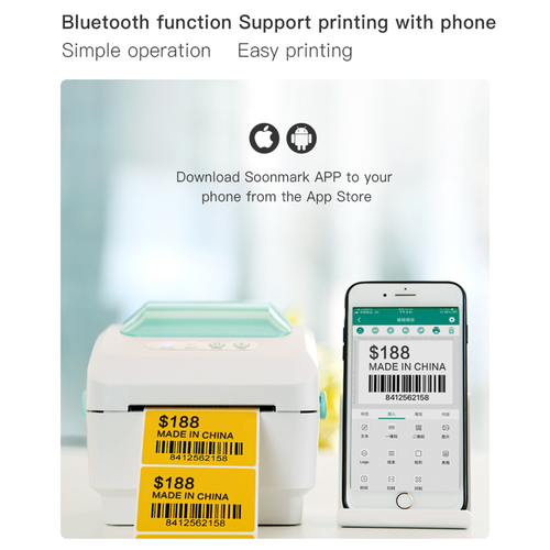 80mm portable mini thermal bluetooth label printer