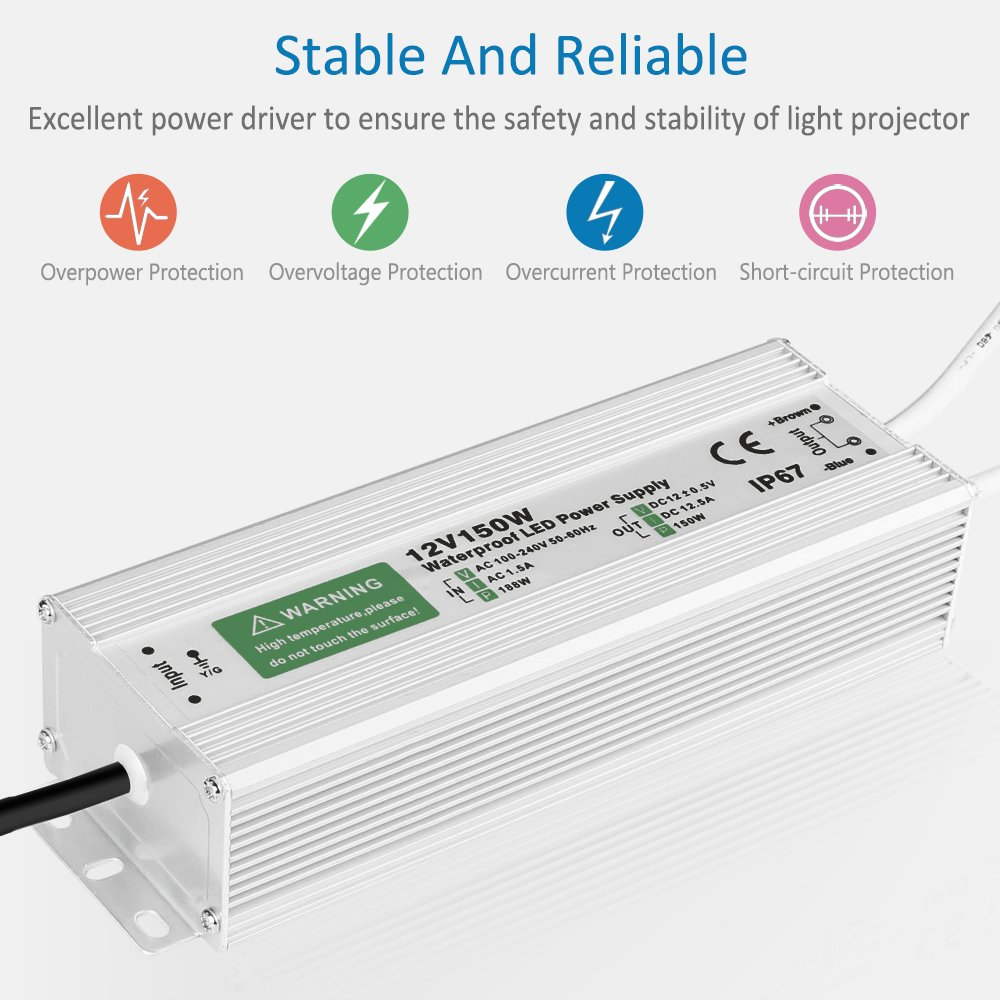 Outdoor LED Transformer 10W 20W 100W 150W LED Driver 12VDC Output Waterproof LED Power Supply for LED Light Pool Fish Aquarium