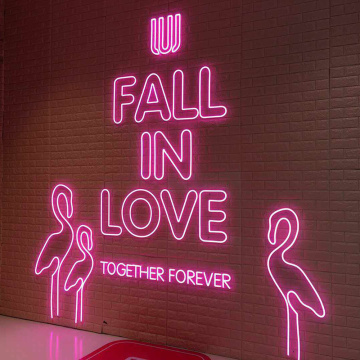 PINK NEON LIGHTING WALL