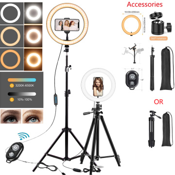 10in LED Selfie Ring Light Photography RingLight Phone Stand Holder Tripod Circle Fill Light Dimmable Lamp Trepied Makeup