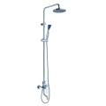 Round exposed shower system with tub faucet