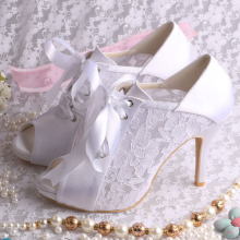 Lace Peep Toe Wedding Shoes Boots High Heeled