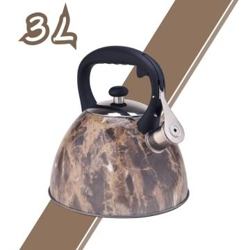 Stainless Steel Whistling Tea Kettle with Brown Pattern