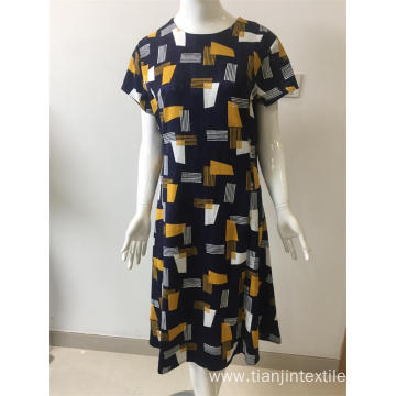 printed and jacquard cotton/viscose/spandex dress