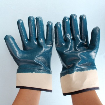 Blue nitrile safety cuff cotton lining gloves 130g
