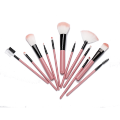 12 dark pink plastic barrel makeup brush