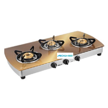 Crystal Gas Stove Metallic Gold Finish 3 Burners