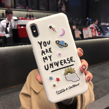 Luxury leather Patch Planet Mobile Phone Case Embroidery