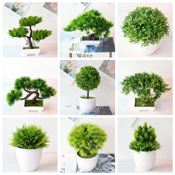 39Styles Green Artificial Plants Bonsai Small Tree Grass Flower Potted Bonsai Christmas Halloween Wedding New Year Home Decor