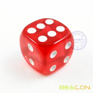 Red Translucent Plastic Playing Dice in Round Shape 18MM