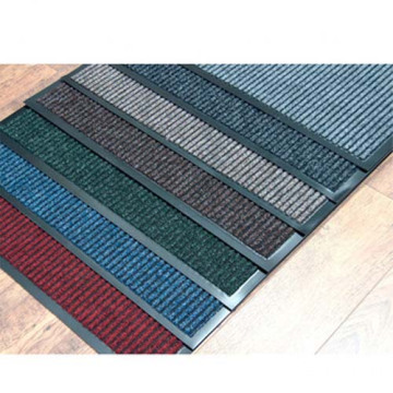 Stripe design polyester needle punched door mat