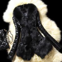 Luxury Women's Faux Fur Coat Leather Outerwear Snowsuit Long Sleeve Jacket Black