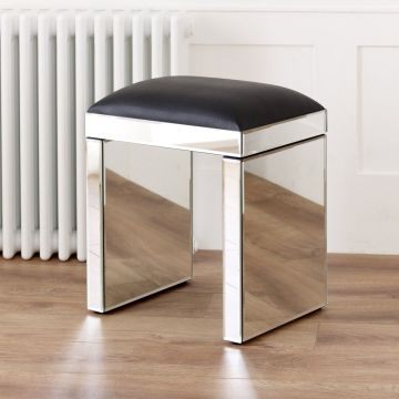 Venetian Mirrored Stool with Black seat pad