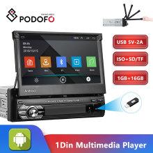 Podofo Android 1din Quad-Core Car GPS Navigation Player 7'' Universa Car Radio WiFi Bluetooth MP5 1DIN Multimedia Player NO DVD