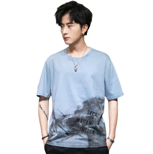 Mens Custom Printed Fashion Short-sleeved Cotton T-shirt