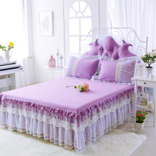 Princess Style Lace Multi-Layer Ruffled Bedding Bed Skirt Twin Full Queen King Coverlet Romantic purple Bed Skirt pillowcase set