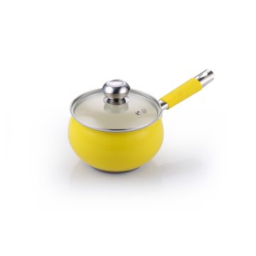 Customized Yellow Cookware Set with Silicone Handles