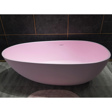 Egg Shape Acrylic Bathtub Freestanding Pink