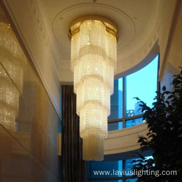Big hotel lobby crystal brass chandelier pendant lamp