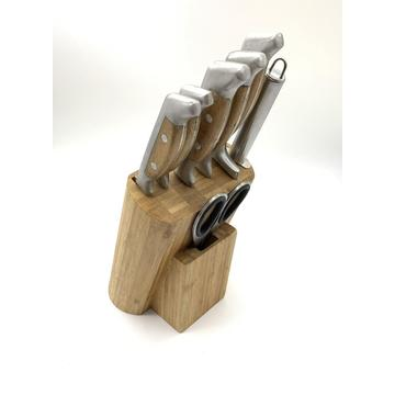 8pcs hollow bamboo handle knife block set