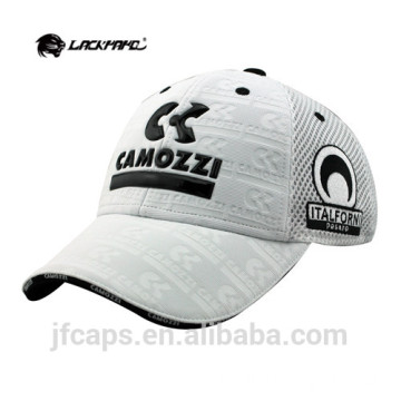 white embossed and applique mesh baseball caps