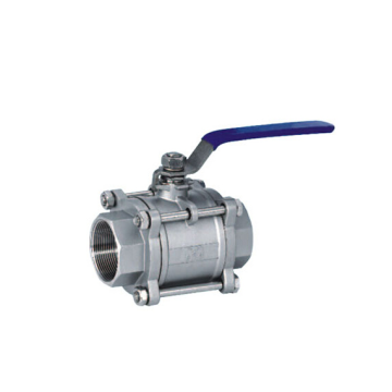 Sanitary Three Piece with Threaded Ball Valve