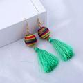Handmade big silk rainbow tassel earrings
