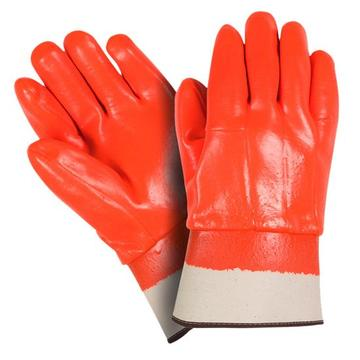 Fluorescent Orange PVC Coated gloves Safety cuff