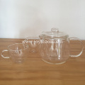 Clear Glass Teapot and Tea Cup Set
