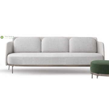 Light Grey Metal Frame Tela Tatlong Seater Sofa