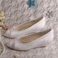 Satin and Lace Open Toe Bridal Shoes Wedges