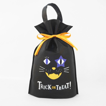 Black Non-Woven Halloween Standing Up Gift Bags