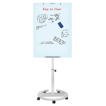 Height adjustable magnetic glass flipchart with wheels