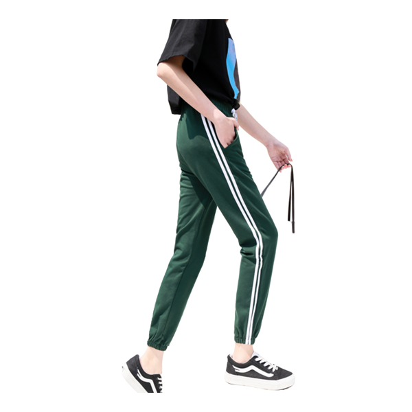 Womens Side Stripe Two Bars Cotton Sports Pants