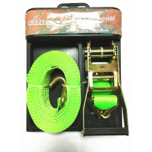 50mm Green Ratchet Tie Down Lashing Strap with Zinc Plating Surface