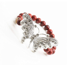 Red Jasper 8MM Round Beads Stretch Gemstone Bracelet with Diamante alloy big butterfly Piece