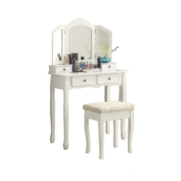 Furniture White Wooden Vanity Make Up Table and Stool Set
