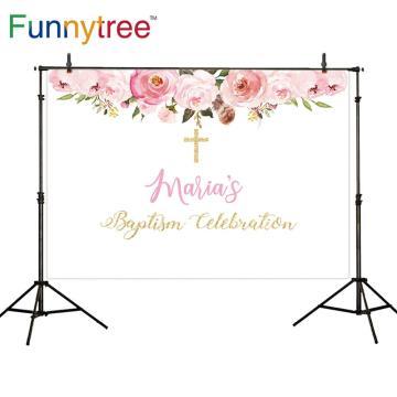 Funnytree Floral Background Baptism Baby Shower Cross Children Backdrop Photocall Photozone Photobooth Decoration Banner Frame